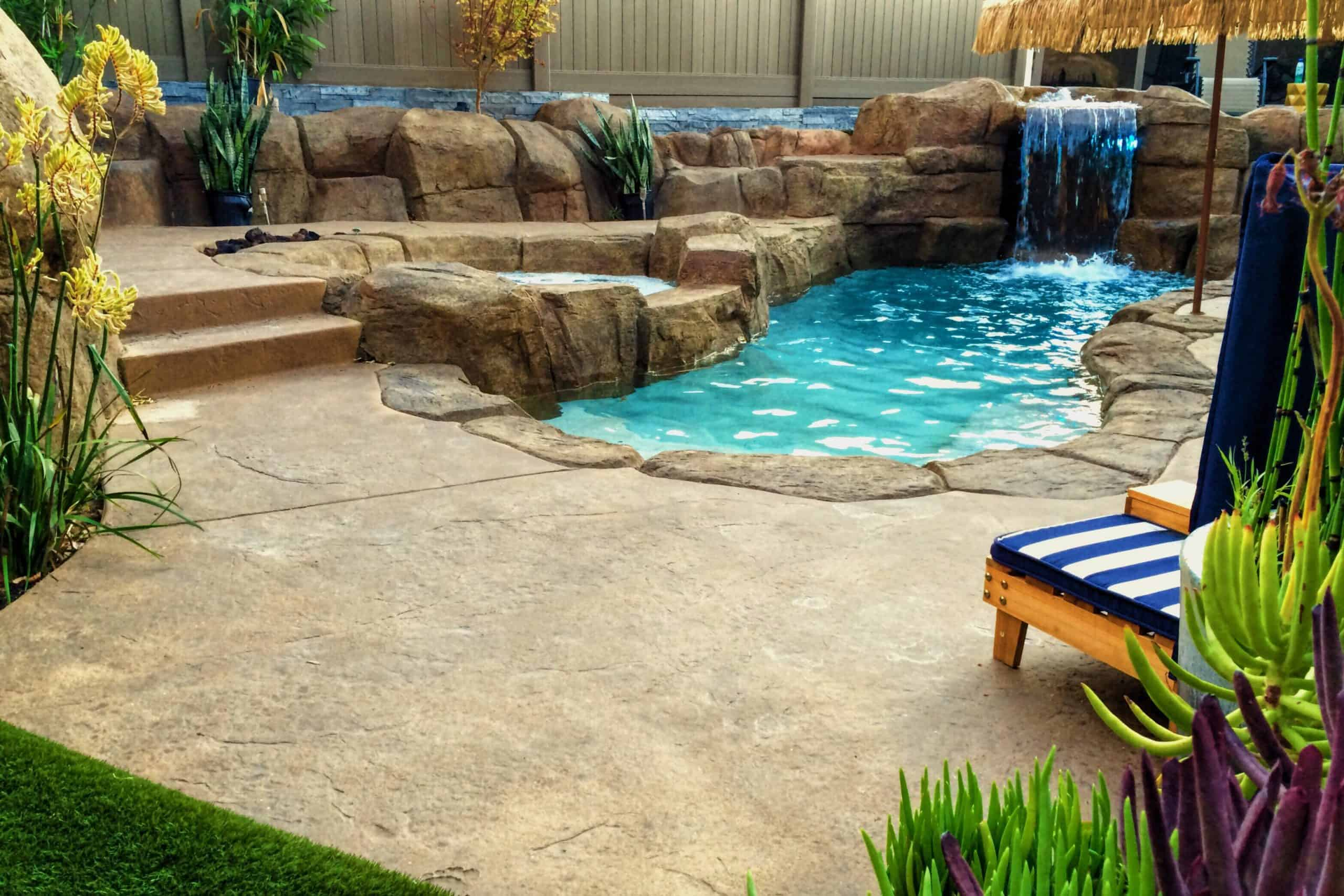 swimming pool with waterfall in florida