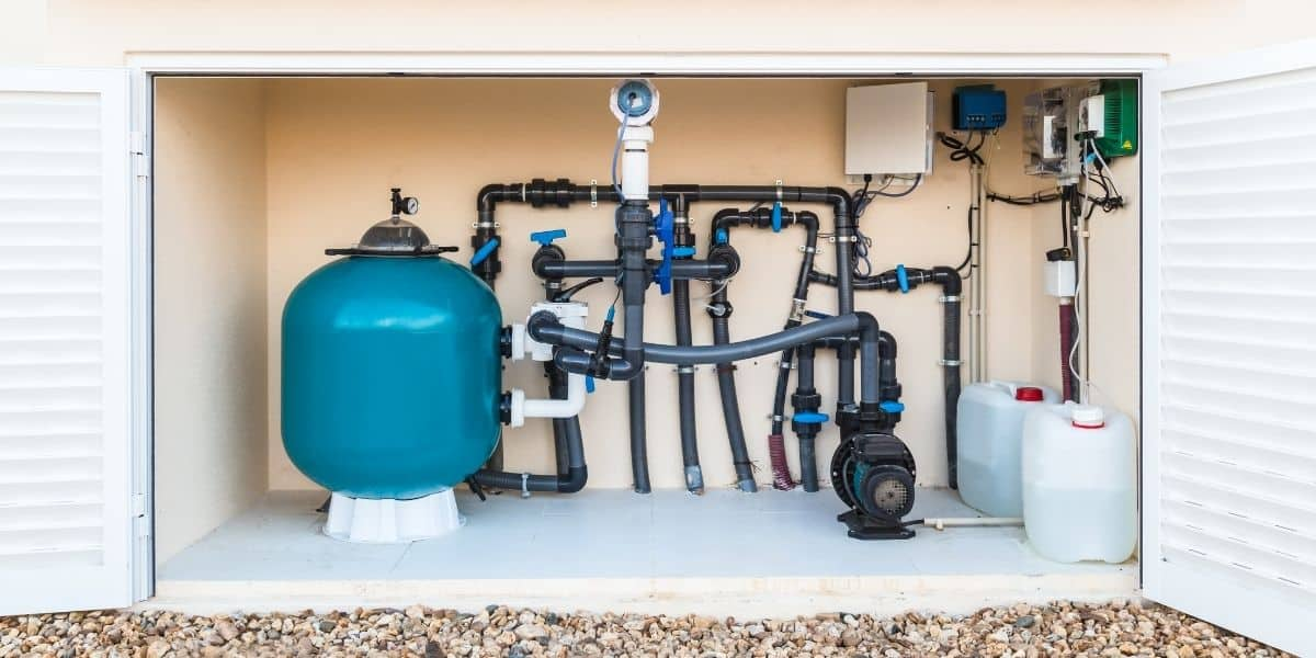 A pool pump and related equipment.